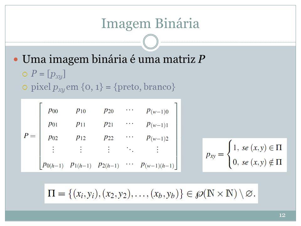 Imagem Binária Uma imagem binária é uma matriz P P = [pxy]